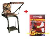 Aluminiumansitzleiter klappbar, Ansitzstuhl, Aluleitersitz + Rückenwärmer Thermopad